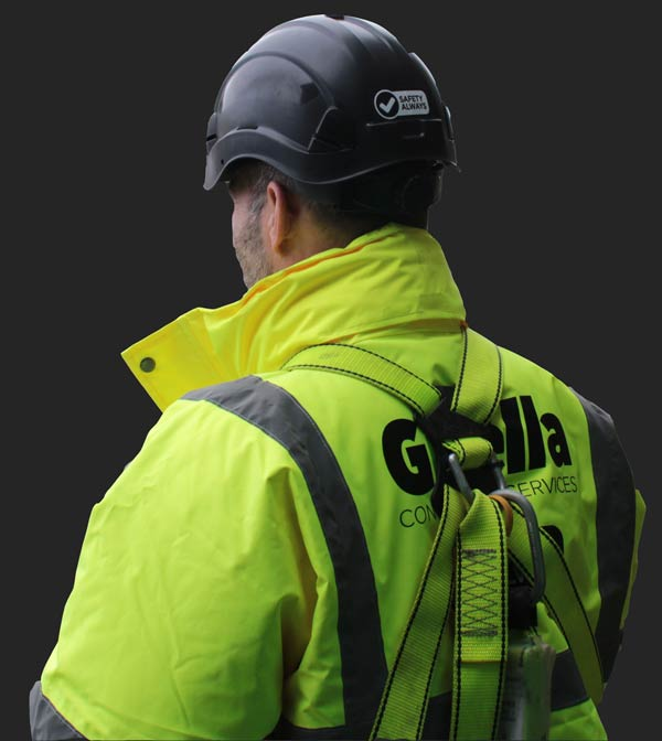 Gwella Asbestos Removal worker wearing safety equipment