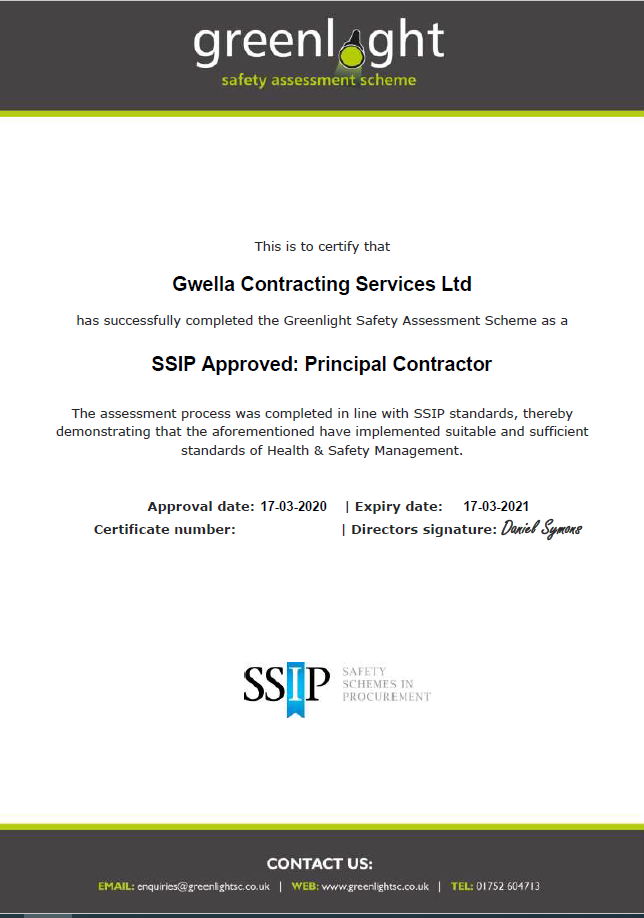 SSIP Accreditation - Gwella Contracting